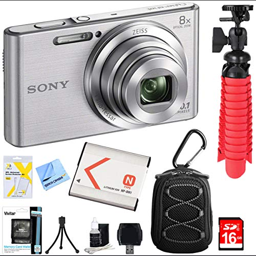 Sony DSC-W830 Cyber-Shot 20.1MP 2.7-Inch LCD Digital Camera Silver Bundle with 16GB Memory Card, Point and Shoot Field Bag, Battery, Table-top Tripod, Spider Tripod and Accessories (5 Items)
