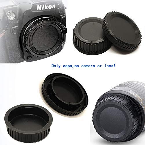 Tapa de lente trasera y tapa frontal para Nikon D780 D90 D7500 D7000 D3500 D5600 DSLR con montura AF AF-S AF-P sustituye a Nikon BF-1B (2 juegos), accesorios para lentes Fire Rock para D780 D90 D7000