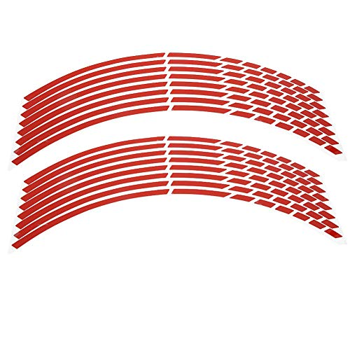 Baverta Strips Edge Aufkleber-Motorrad Dekoration Zubehör Fahrrad Motorrad 16-18inch Reflective Wheel Strip Aufkleber Dekoration Zubehör 16pcs(rot)