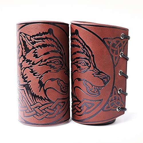 Thajaling 2 pulseras de cuero con guantelete punk, brazaletes de cuero, brazaletes de guanteletes de cuero, brazalete de armadura de cosplay vikingo, lobo grabado, 5 pulgadas (marrón)