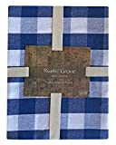 Lintex Farm Check Gingham Indoor/Outdoor Casual Cotton Tablecloth, Farm Buffalo Plaid 100% Cotton Weave Kitchen, Patio and Dining Room Tablecloth, 70 Round, Cornflower Blue