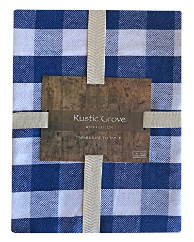 Lintex Farm Check Gingham Indoor/Outdoor Casual Cotton Tablecloth, Farm Buffalo Plaid 100% Cotton Weave Kitchen, Patio and Dining Room Tablecloth, 60 x 84 Oblong/Rectangle, Grey