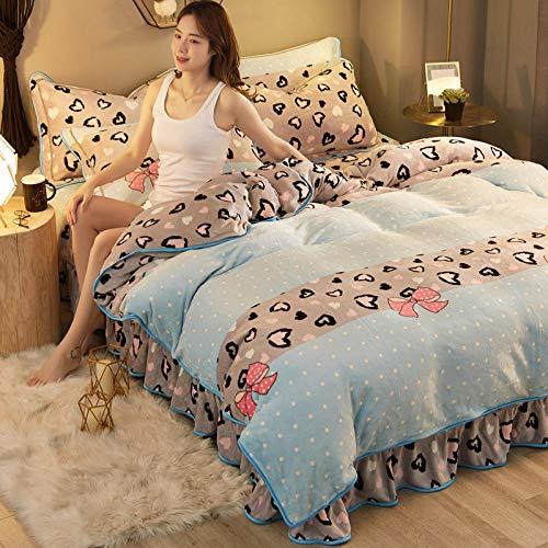 funda de edredón para cama individual-Falda de cama cálida de invierno juego de cuatro piezas de terciopelo de leche de franela...