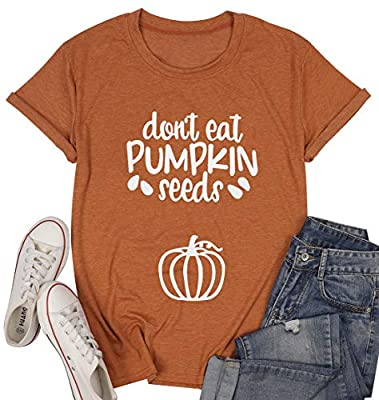 Dont Eat Pumpkin Seeds Letter Printed T-Shirt Women Short Sleeve Funny Halloween Maternity Pregnancy Casual Tee Tops Orange