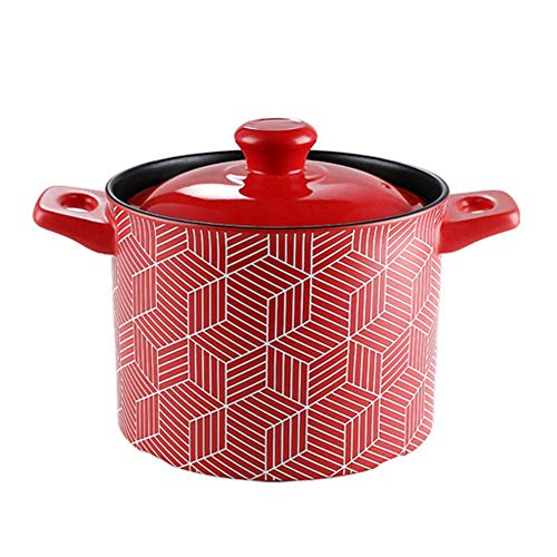 Ceramic Pan with Lid,Heat-Resistant Sustainable Pan Dish with Handle,Great for Braising Slow Cooking Slow Simmering High Soup Pot 3.5l