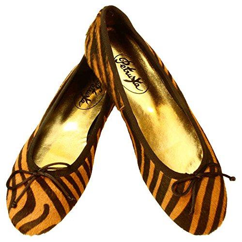 Petruska Ballerinas Amur-Pony- Fell im Tiger-Look im Farbton Cognac-Braun (37)