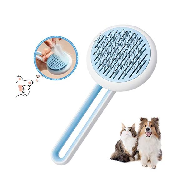 Self Cleaning Slicker Brush for Dogs and Cats,Pet Grooming Tool,Removes Undercoat,Shedding Mats and Tangled Hair,Dander,Dirt, Massages Particle