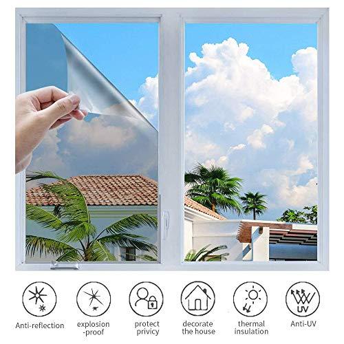 h Sonnenschutzfolie Selbstklebend Fenster Fensterfolie Verdunkelungsfolie Wärmeisolierung 99% Anti-UV Blickdichte Sichtschutz Folie für Fenster Haus Büro Geschäft (Silber, 60 x 400 cm)
