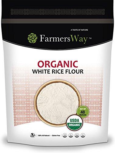 Harina de arroz blanco orgánica Farmers Way, es una harina de arroz blanco orgánica y sin gluten que es alta en proteínas y fibra, bolsa de 48 onzas