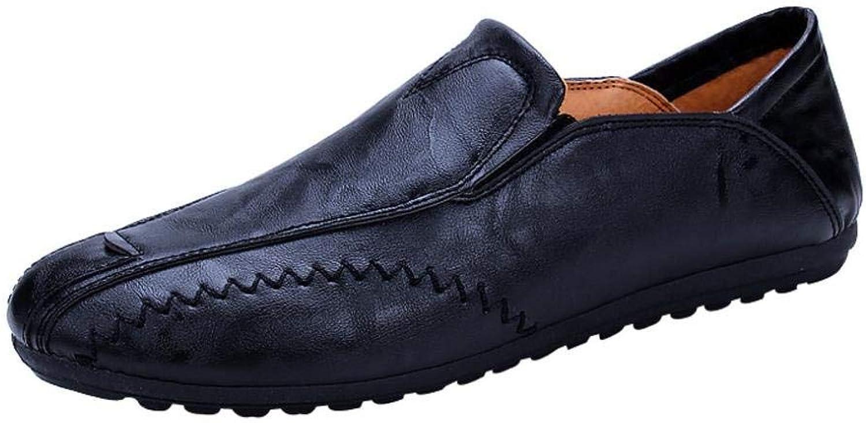 039c6f8e61dfc GouuoHi Men Flat Men's Autumn Leisure Leather Business Solid Solid ...