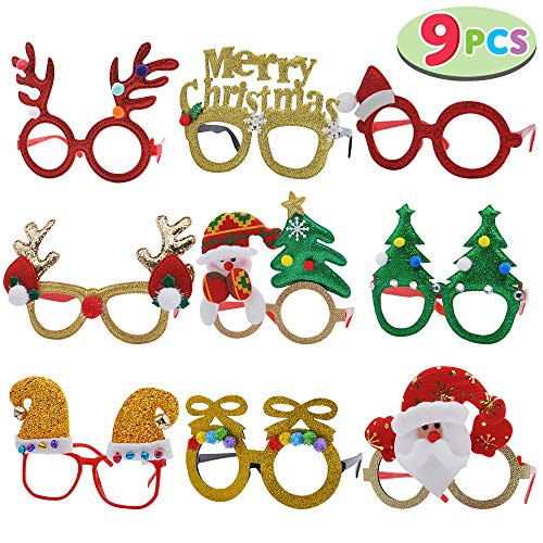 JOYIN Pack of 9 Christmas Glasses Frame Costume Eyeglasses for Christmas Party Supplies and Party Favors, Assorted Styles (One Size Fits All)