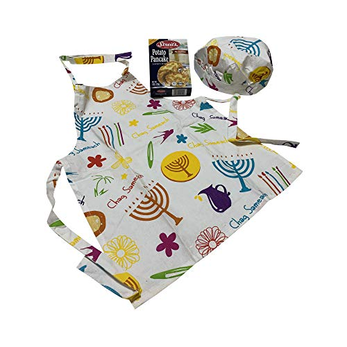 Toy Vey Teach Little Ones Hanukkah Cooking - Children's White Chag Sameach Decorative Hanukkah Apron with Matching Chef's Hat and Box of Potato Pancake Latke Mix – Make Hanukkah Fun with The Kids.