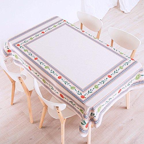 HXC Home 140 x 100 cm beige gebloemd origineel landelijk Instagram tafelkleed, katoen linnen, eettafel, rechthoekig, vierkant, niet strijken, milieuvriendelijk tafelkleed