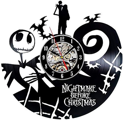 kkkjjj Reloj de Pared de Vinilo Serie Pesadilla Antes de Navidad