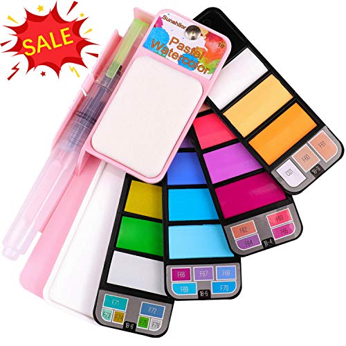 Sunshilor Pastel Watercolor Paint Set - 18 Assorted Colors with Brush, Foldable Portable Water Color Field Sketch Set for Outdoor Painting – Travel Pocket Watercolor Kit Christmas Gifts
