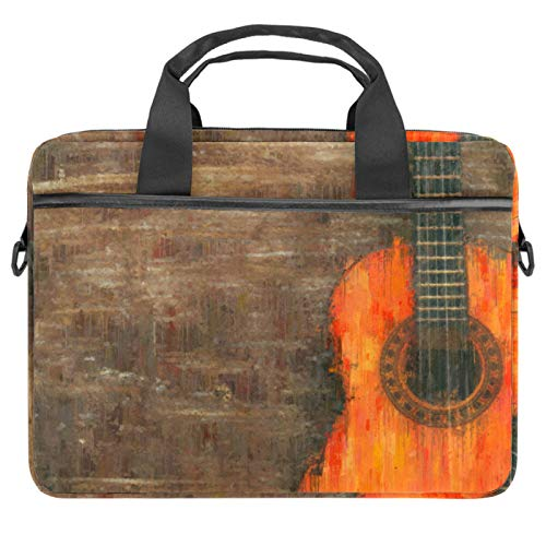 Laptop Bag Vintage Guitar Brown Notebook Sleeve with Handle 13.4-14.5 inches Carrying Shoulder Bag Briefcase