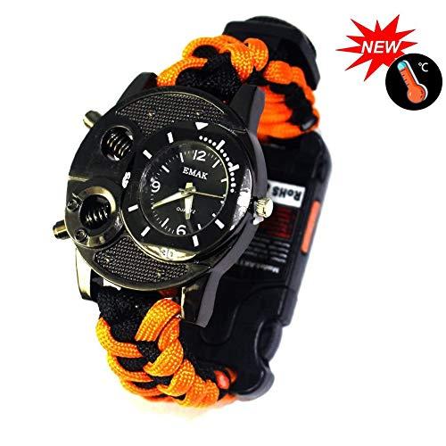 Outdoors Survival Multifunctionele Armband, Horloge Met Fluitje Kompas Thermometer, Zaklamp Infrarood Laserlicht Voor Expeditie Camping Bergbeklimmen,Orange