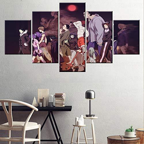 HKDGHTHJ® 5 juegos de pinturas de decoración de pared de arte de pared Anime personajes momia zombies 150x100cm Arte de pared impresiones en lienzo imágenes decoración del hogar 5 piezas pintura carte