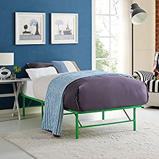 Modway Horizon Twin Bed Frame In Green - Replaces Box Spring - Folding Portable Metal Mattress Bed Frame With Storage - Low Profile - Heavy Duty