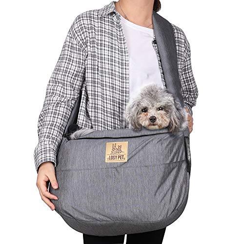 LOSY PET Bolsa Bandolera de Mascota para Perros y Gatos Bandoleras Portaperros con Correa de Hombro Acolchada Ajustable Transportín para Perros Respirable con Bolsill Cachorros Menos de 9kg (Gris)