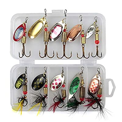 QLING 10Pcs/Set Sequins Spinner Fishing Lures with Hook, Lifelike Rotating Metal Fishing Bait Crankbaits Set Fishing Tackle Sharp Treble Hooks