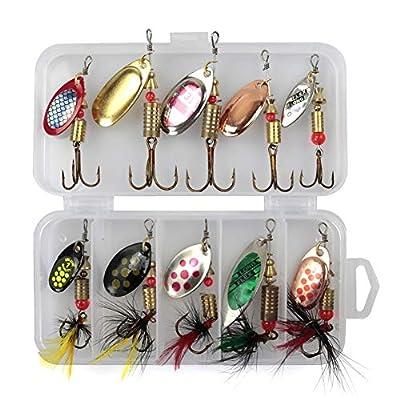 QLING 10Pcs/Set Sequins Spinner Fishing Lures with Hook, Lifelike Rotating Metal Fishing Bait Crankbaits Set Fishing Tackle Sharp Treble Hooks