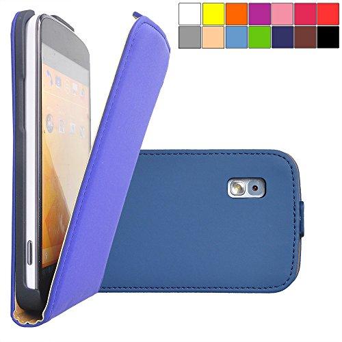 COOVY® Funda para LG LG Google Nexus 4 E960 Cubierta Delgado, con Tapa, lámina Protectora de Pantalla | Color Azul Oscuro