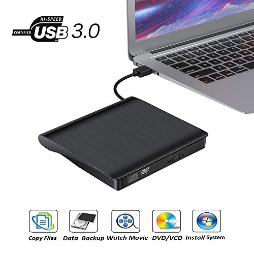 Externes CD DVD Laufwerk, tragbares USB 3.0 CD/DVD +/- RW-Laufwerk Slim CD/VCD-ROM Rewriter Burner Floppy Superdrive für Laptop, PC, Mac 10, Betriebssystem, Windows 10/8/7/XP/Vista, Linux