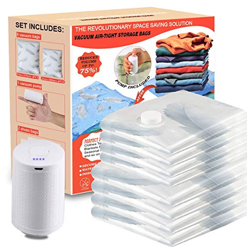 VacBest Vacuum Storage Space Saver Bags 11 Combo 4 Small 4 Medium 2 XLarge Storage Bags With a Strong Handles with a Portable Electric Pump for Travel