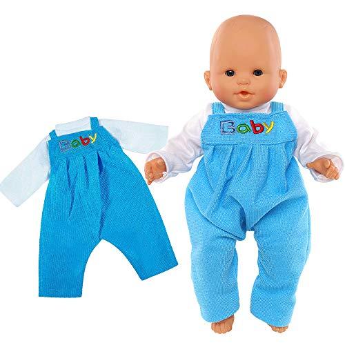 Miunana Abito Vestito Azzurro Pagliaccetti Stampa Baby per 14 - 16 Pollici (36 CM - 42 CM ) Bambola Bambolotti (Non Include Bambola