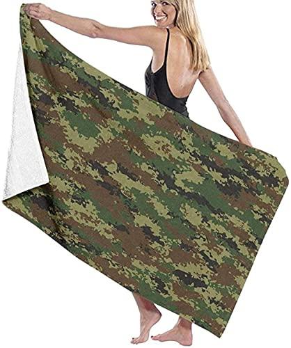 Telo Mare Grande 130 ×80cm, Mimetico verde militare,Asciugamano da Spiaggia in Microfibra Asciugatura Rapida,Ultra Morbido,Uomo,Donna,Bambina