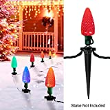 13FT C9 Christmas Lights with 25 LED Bulbs for Christmas Decoration- UL listed Warm White Christmas Stake Lights, for Outdoor Patio Christmas Tree Hanging Lights, Green Wire(Stakes Sold Seperately)