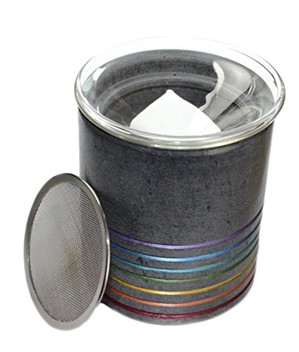 Budawi® - Duftstövchen Aromalampe mit Edelstahl-Sieb, Räucherstövchen Räucher-gefäß aus Speckstein, Duftlampe (Chakra) Duftlampe