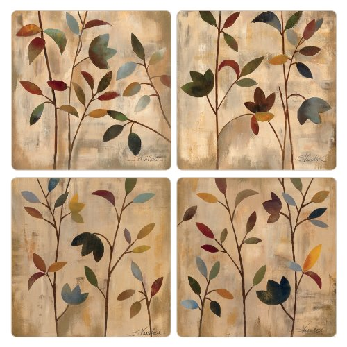 CoasterStone Branches at Sunrise Absorbent Coasters, 4-1/4-Inch, Set of 4