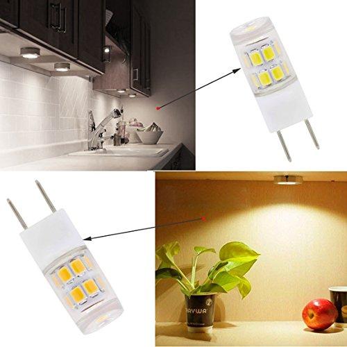 Zxln G8ampoule LED Blanc chaud 2700K 2,5W équivalent 25W lampe halogène Puck lumières, éclairage sous Comptoir de cuisine non dimmable Ac110V-130V (lot de 5)