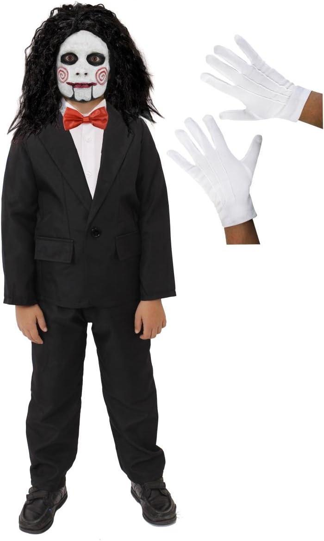 CHILD PUPPET COSTUME HALLOWEEN FANCY DRESS SUIT FACE PAINT WIG BOW TIE GLOVES