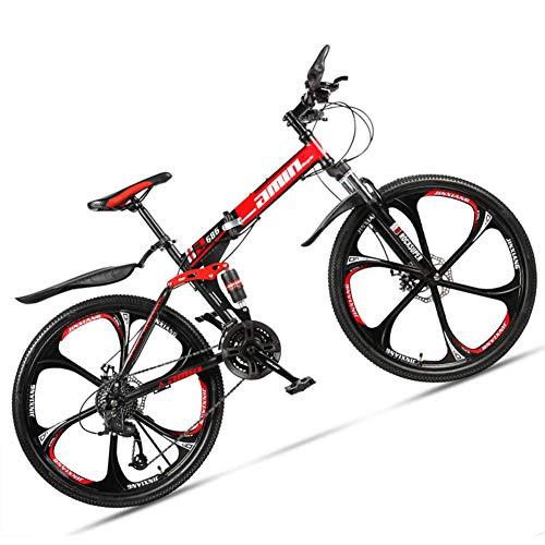 NENGGE 26 Pouces Pliable Vélo VTT pour Adulte Homme & Femme, Tout Suspendu Vélo de Montagne avec Freins a Disque, Cadre en Acier à Haute Teneur en Carbone Cyclisme,6 Spoke Red,24 Speed