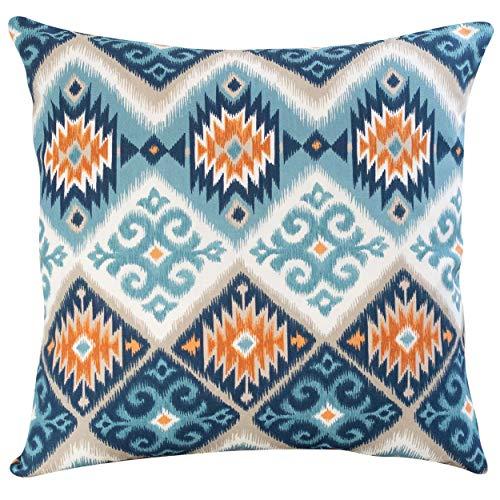 Funda de cojín de con estampado navajo kilim estilo extragrand. Diseño geométrico abstracto azul turquesa y naranja quemado. 100% algodón. Estilo nativo americano. 58cm x 58cm. Cubrir solo.