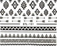 ネイティブネイルシール 【ブラック】 ノルディック柄 白黒 ジェルネイル DTL-101