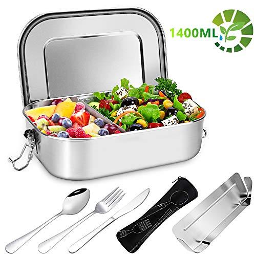 Gifort Porta Pranzo in Acciaio Inossidabile, Premium 1400ml Lunch Box con 3 Posate e Partizione Rimovibile, Lavastoviglie/Senza BPA, A Prova di Perdit