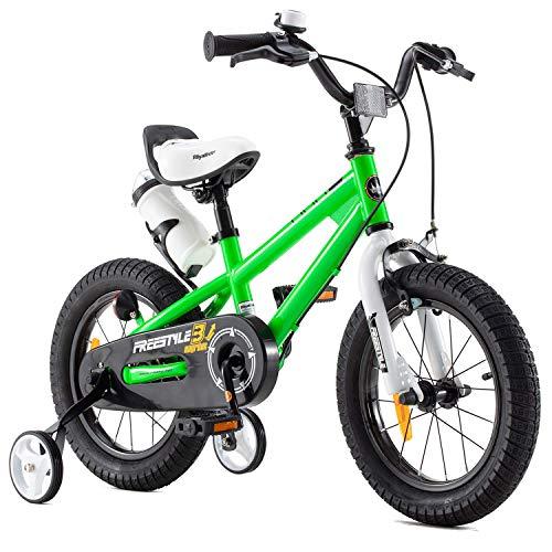 Royal Baby Kinderfahrrad Jungen Mädchen Freestyle BMX Fahrrad Stützräder Laufrad Kinder Fahrrad 14 Zoll Grün
