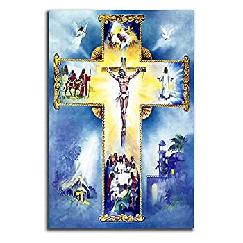 Jesus Pictures For Wall Canvas Frameless Wall Art Jesus Cross Family Interactive Games Great Holiday Leisure Art For Bedroom Living Room Religious Picture Oil Painting 16x20 Inch