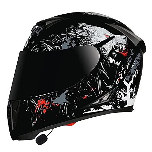 LIRONGXILY Casco Moto Modular Casco Moto Modular Casco Integral con Bluetooth Integrado con Doble Visera para Hombre o Mujer ECE Homologado (Color : E, Size : 59-60CM(XL))