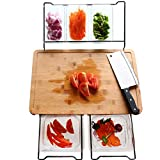Bamboo Cutting Board Set with 5 Containers, Extensible Food Prep Station for Kitchen