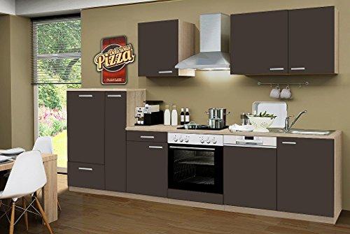idealShopping GmbH Küchenblock ohne Elektrogeräte Classic 310 cm in lava matt (Geschirrspüler geeignet)