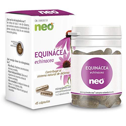 NEO | Extracto Seco de Aéreas de Equinácea 200 mg | 45 Cápsulas Naturales | Ayuda a las Vías Respiratorias Altas | Libre de Alérgenos y GMO | Tomar de 1 a 2 Cápsulas a Día | Liberación Rápida