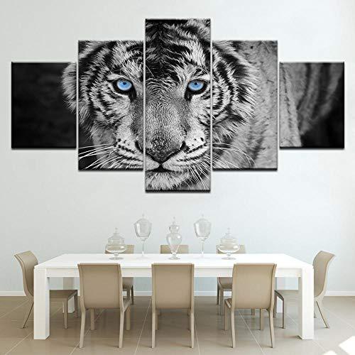 Lucellgh Cuadro sobre Lienzo 5 Piezas Tigre Blanco Tejido No Tejido Impresión Artística Imagen Gráfica Decoracion De Pared 200Cmx100Cm
