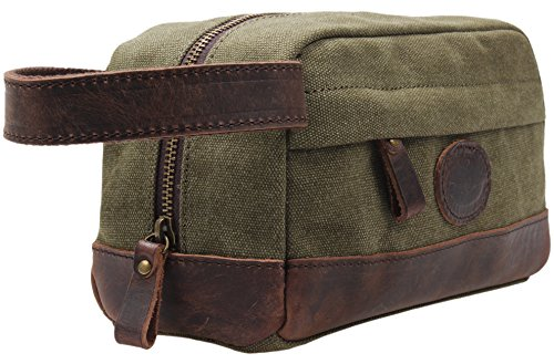 Vintage Leather Canvas Travel Toiletry Bag Shaving Dopp Kit #A001 (Army Green)