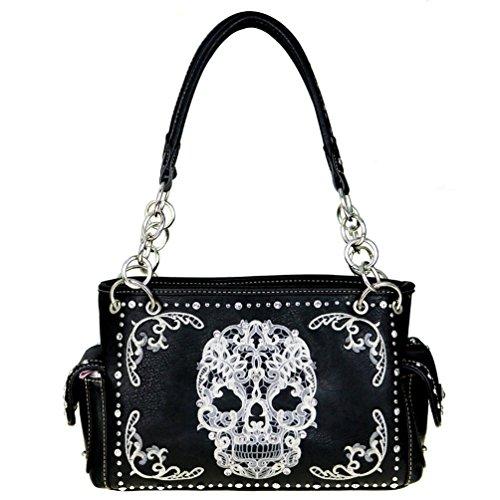 MW494G-8085 Montana West Sugar Skull Concealed Carry Satchel Handbag (Black/White)