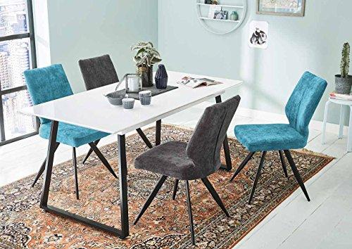 lifestyle4living Esstisch, Weiß, Hochglanz, 160 x 80 cm, U-Kufengestell aus Metall | ausziehbarer Esszimmertisch im Industrial Style